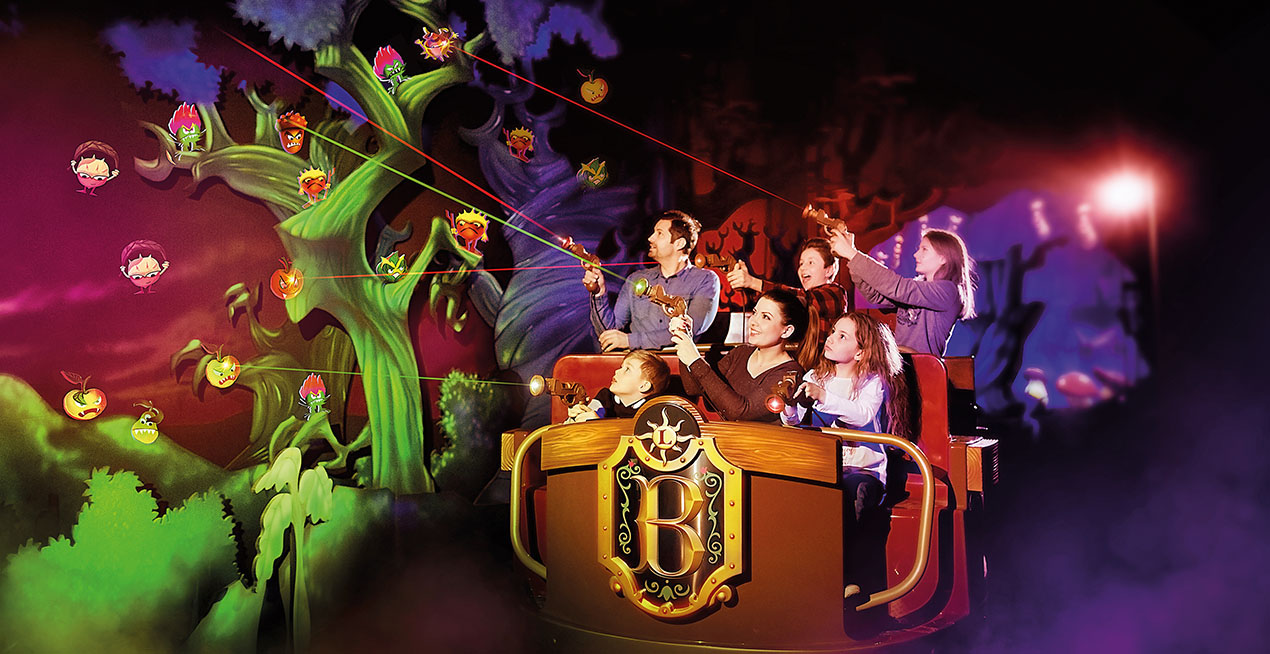 Interactive dark ride with happy family